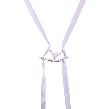 Aerial Silk Necklace - Silver Pendant  + Lila Silk