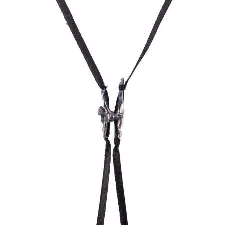 Aerial Silk Necklace - Silver Pendant  + Black Silk