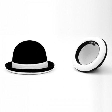 Jonglierhut Melone Juggle Dream schwarzer Hut mit weißes Band außen und weißem Innensaum