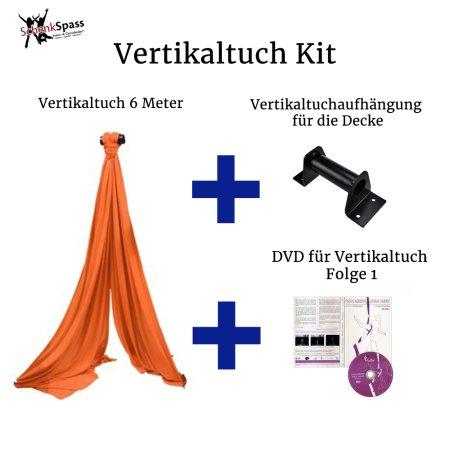 - Vertikaltuch Farbe Orange + Aufhängung für die Decke Schwarz