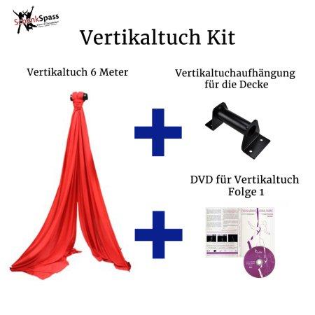 - Vertikaltuch Farbe Rot + Aufhängung für die Decke Schwarz