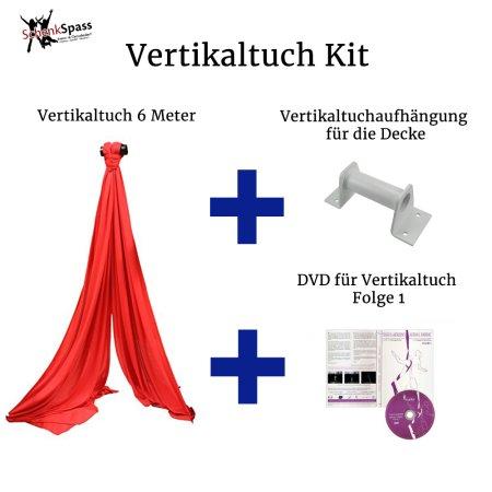 - Vertikaltuch Farbe Rot + Aufhängung für die Decke  Weiß